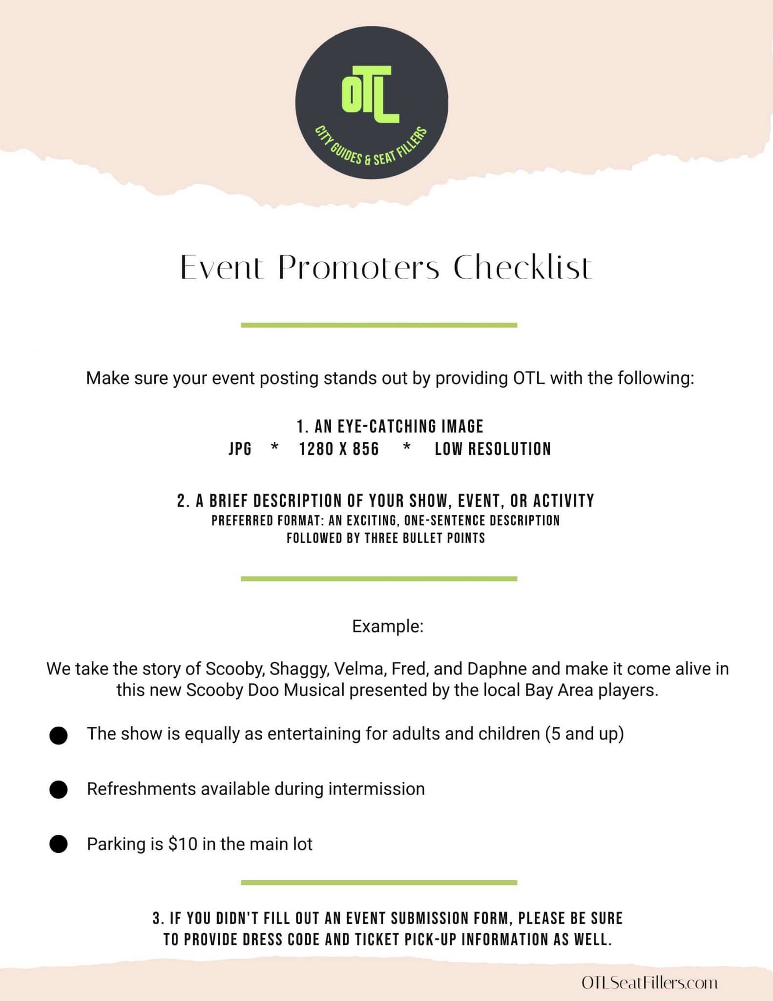 event promoters checklist, info for seat fillers, invite seat fillers, seat filling service